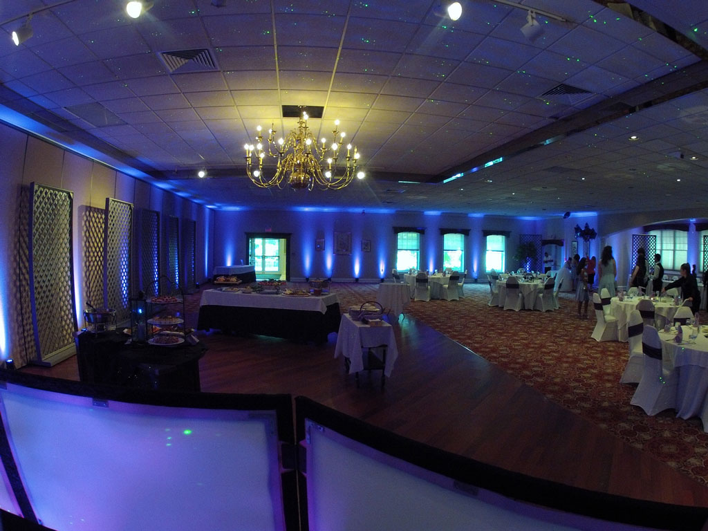 Blue up lighting at the Amber Room, Danbury, Ct.