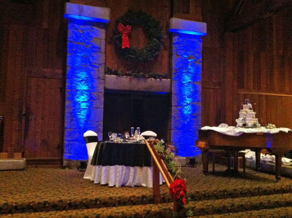 Blue lighting on the fireplace, Heritage Inn, Southbury, Ct.