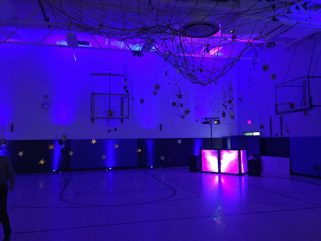 Blue uplights at School Dance, Redding, Ct.