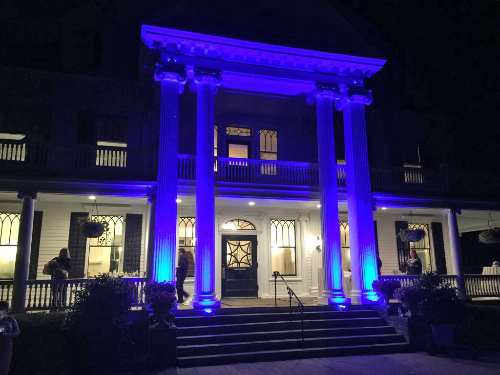 Exterior Blue Lighting, Lounsbury House, Ridgefield, Ct.